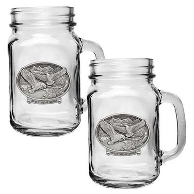 Bald Eagle USA Mason Jar Mug Set of 2