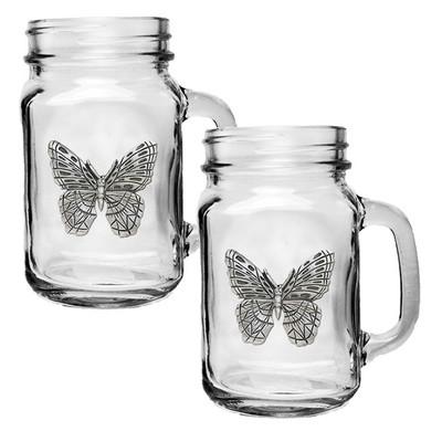 Butterfly Mason Jar Mug Set of 2