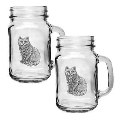 Cat Mason Jar Mug Set of 2