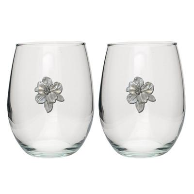 Apple Blossom Stemless Goblet Set of 2