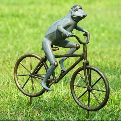 Frog on Bicycle Garden Sculpture | 33810