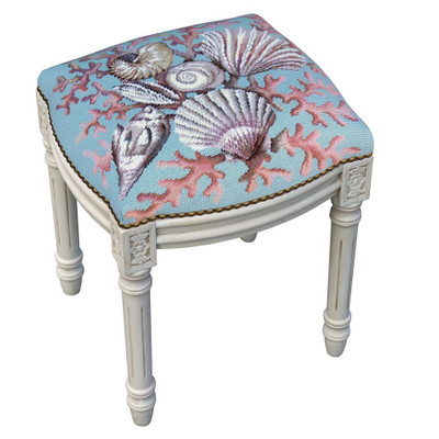 Coral and Shell Needlepoint Vanity Stool