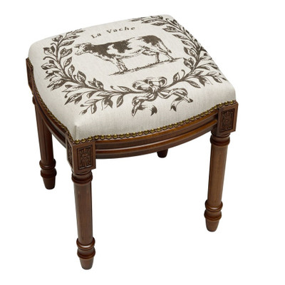 Cow Upholstered Vanity Stool | Cow Vanity Stool | CS040FS-GY