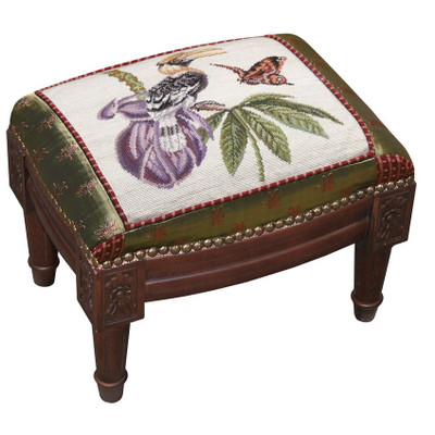 Bird and Butterfly Needlepoint Footstool