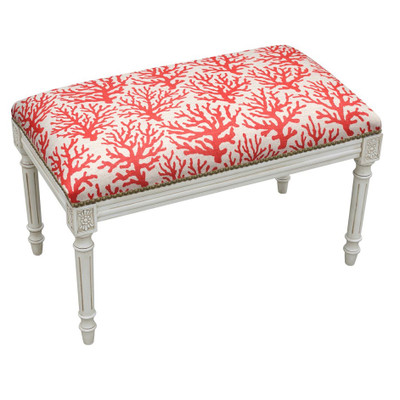 Coral Print Upholstered Bench