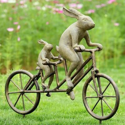 Tandem Bicycle Bunnies Garden Statue | 33862