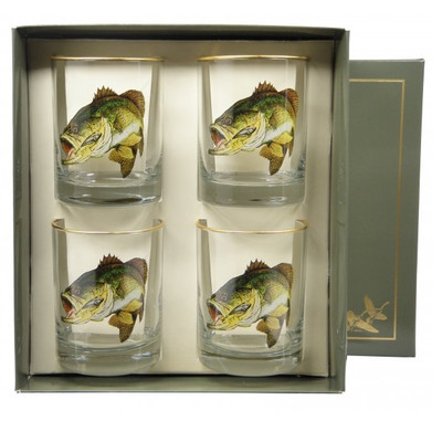 Bass Fish Double Old Fashioned Glass Set