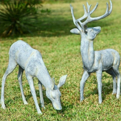 Deer Pair Grazing Sculpture | 33686