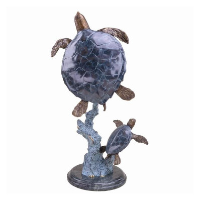 Mother-Baby Sea Turtle Brass-Marble Sculpture | BP25007