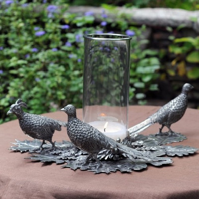 Pheasant Pillar Centerpiece Candle Holder