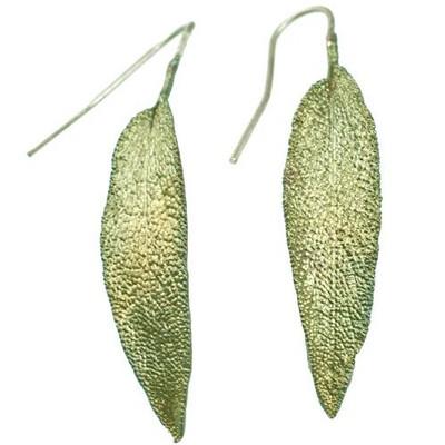 Sage Leaf Earrings   Nature Jewelry