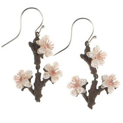 Cherry Blossom Twig Wire Earrings | Nature Jewelry