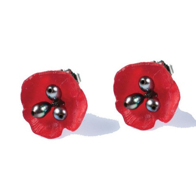 Red Poppy Stud Earrings | Nature Jewelry