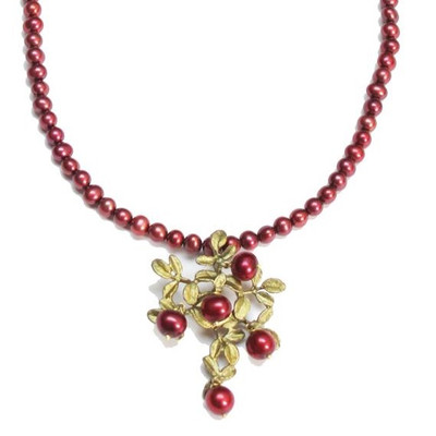 Cranberry Pearl Pendant Necklace | Nature Jewelry