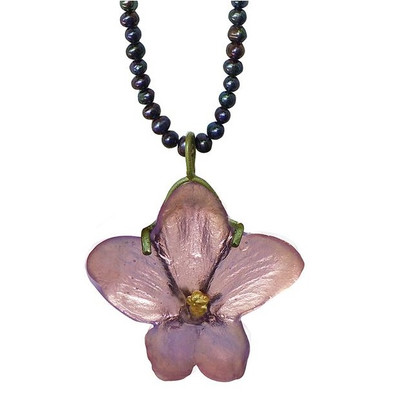 African Violet Pendant on Pearl Necklace | Nature Jewelry