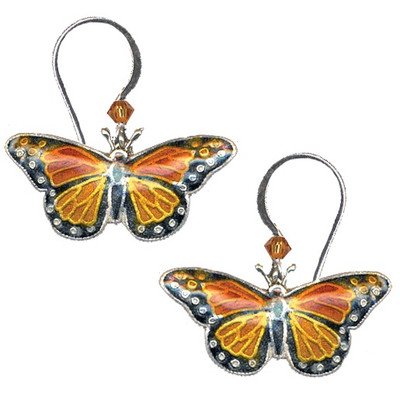 Monarch Butterfly Cloisonne Wire Earrings | Nature Jewelry