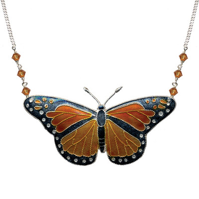 Monarch Butterfly Cloisonne Large Necklace | Nature Jewelry
