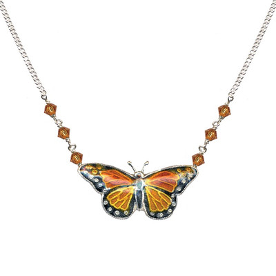 Monarch Butterfly Cloisonne Small Necklace | Nature Jewelry