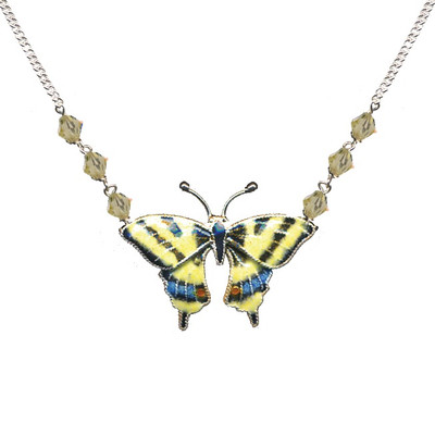 Swallowtail Butterfly Cloisonne Small Necklace | Nature Jewelry