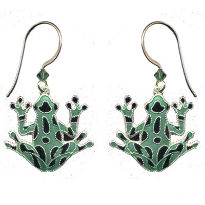 Green Frog Cloisonne Wire Earrings | Nature Jewelry