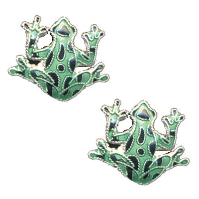 Green Frog Cloisonne Post Earrings | Nature Jewelry