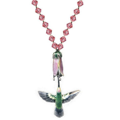 Hummingbird with Pink Flower Cloisonne Necklace | Nature Jewelry