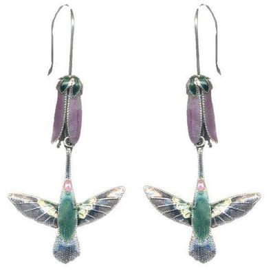 Hummingbird & Pink Flower Cloisonne Wire Earrings | Nature Jewelry