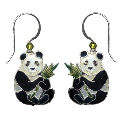 Panda with Bamboo Cloisonne Wire Earrings   Nature Jewelry