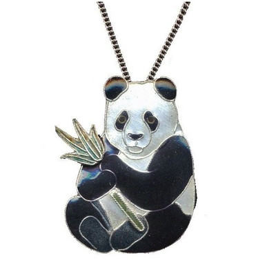 Panda with Bamboo Cloisonne Large Necklace   Nature Jewelry