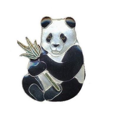 Panda with Bamboo Cloisonne Pin   Nature Jewelry