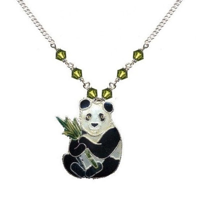 Panda with Bamboo Cloisonne Small Necklace   Nature Jewelry