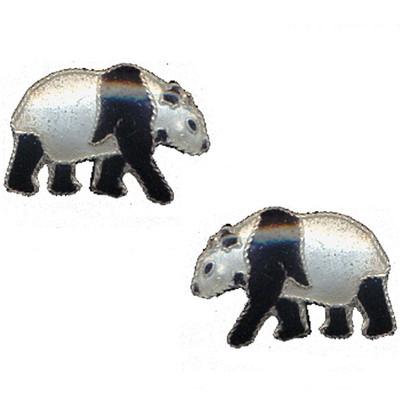 Walking Panda Cloisonne Post Earrings   Nature Jewelry