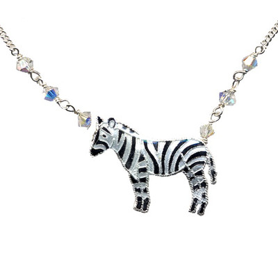 Zebra Cloisonne Necklace | Nature Jewelry