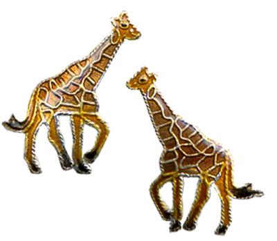 Giraffe Cloisonne Post Earrings | Nature Jewelry