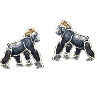 Gorilla Cloisonne Post Earrings | Nature Jewelry