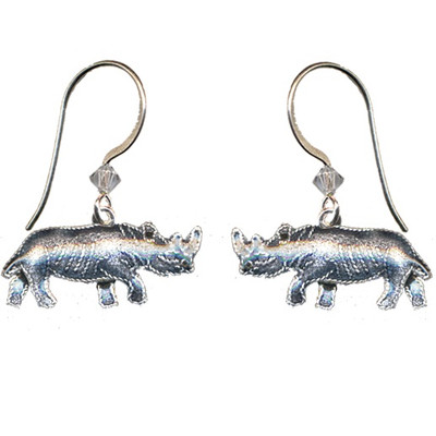 Rhino Cloisonne Wire Earrings | Nature Jewelry