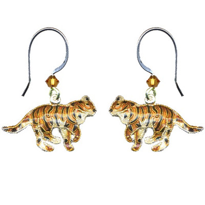 Tiger Cloisonne Wire Earrings | Nature Jewelry