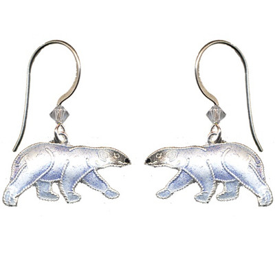 Polar Bear Cloisonne Earrings | Nature Jewelry