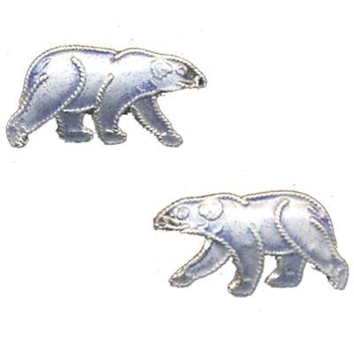Polar Bear Cloisonne Post Earrings   Nature Jewelry