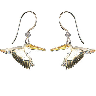 White Pelican Cloisonne Wire Earrings   Nature Jewelry