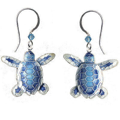 Blue Flatback Hatchling Turtle Cloisonne Wire Earrings | Nature Jewelry