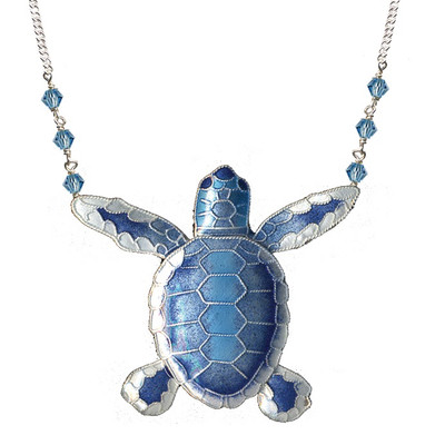 Blue Flatback Hatchling Turtle Cloisonne Large Necklace | Nature Jewelry
