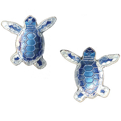 Blue Flatback Hatchling Turtle Cloisonne Post Earrings | Nature Jewelry