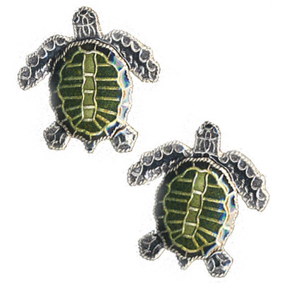 Olive Ridley Sea Turtle Cloisonne Post Earrings | Nature Jewelry