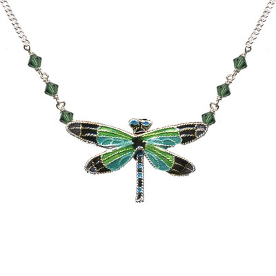 Radiant Gossamer Wing Dragonfly Cloisonne Necklace | Nature Jewelry