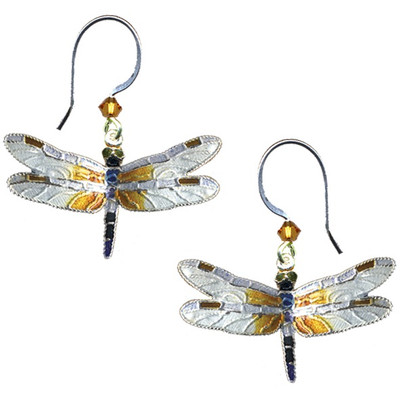 Great Blue Skimmer Dragonfly Cloisonne Wire Earrings | Nature Jewelry