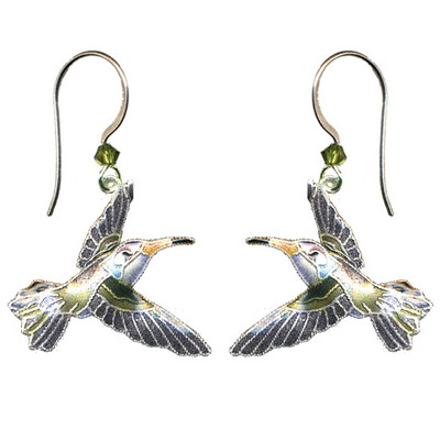 Violet Crowned Hummingbird Cloisonne Wire Earrings | Nature Jewelry