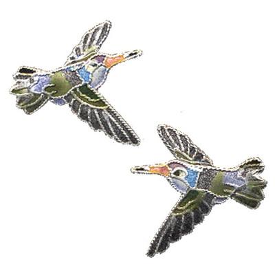 Violet Crowned Hummingbird Cloisonne Post Earrings | Bamboo Jewelry | bj0102pe