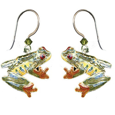 Red Eyed Tree Frog Cloisonne Wire Earrings | Nature Jewelry