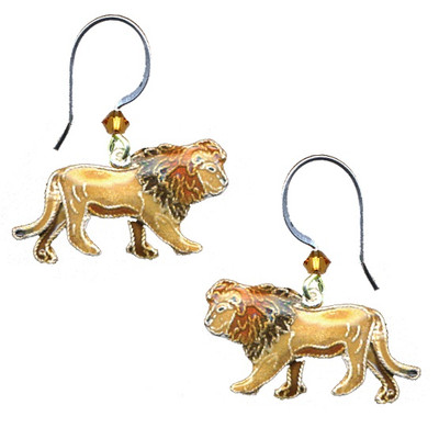 Lion Cloisonne Wire Earrings   Nature Jewelry